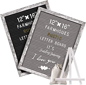 Tukuos Double Sided Felt Letter Board with Rustic Wood Frame,750 Precut Gold & White Letters,Months & Days & Script Cursive Words,Wall & Tabletop Display Decor (White Rustic 16x10 Gray)