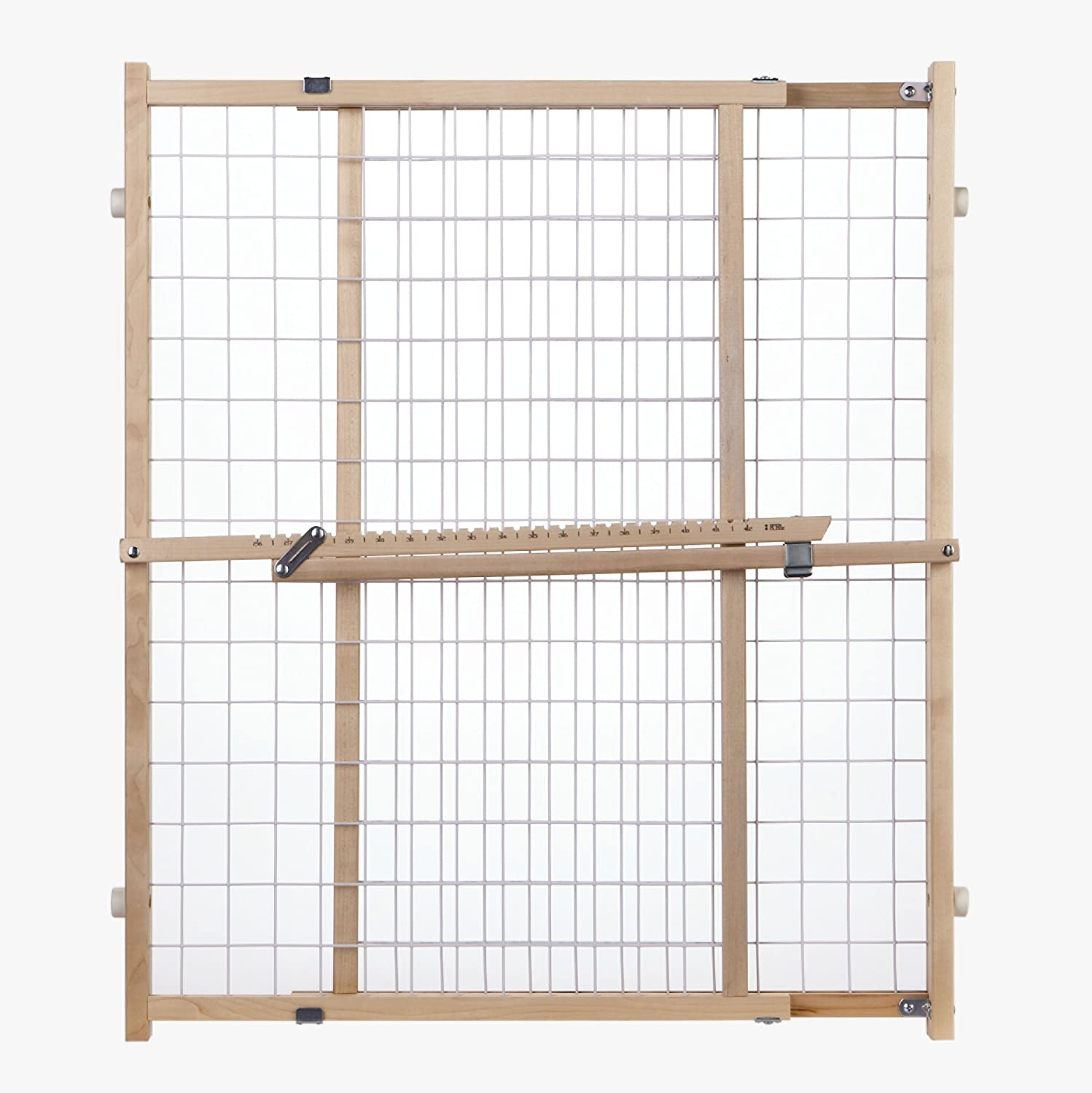 """Extra-Wide Wire Mesh Gate"" by North States: Installs in extra-wide openings in seconds, without damaging walls. Pressure mount. Fits openings 29.5"" to 50"" wide (32"" tall, Natural wood) North States Industries 4615"