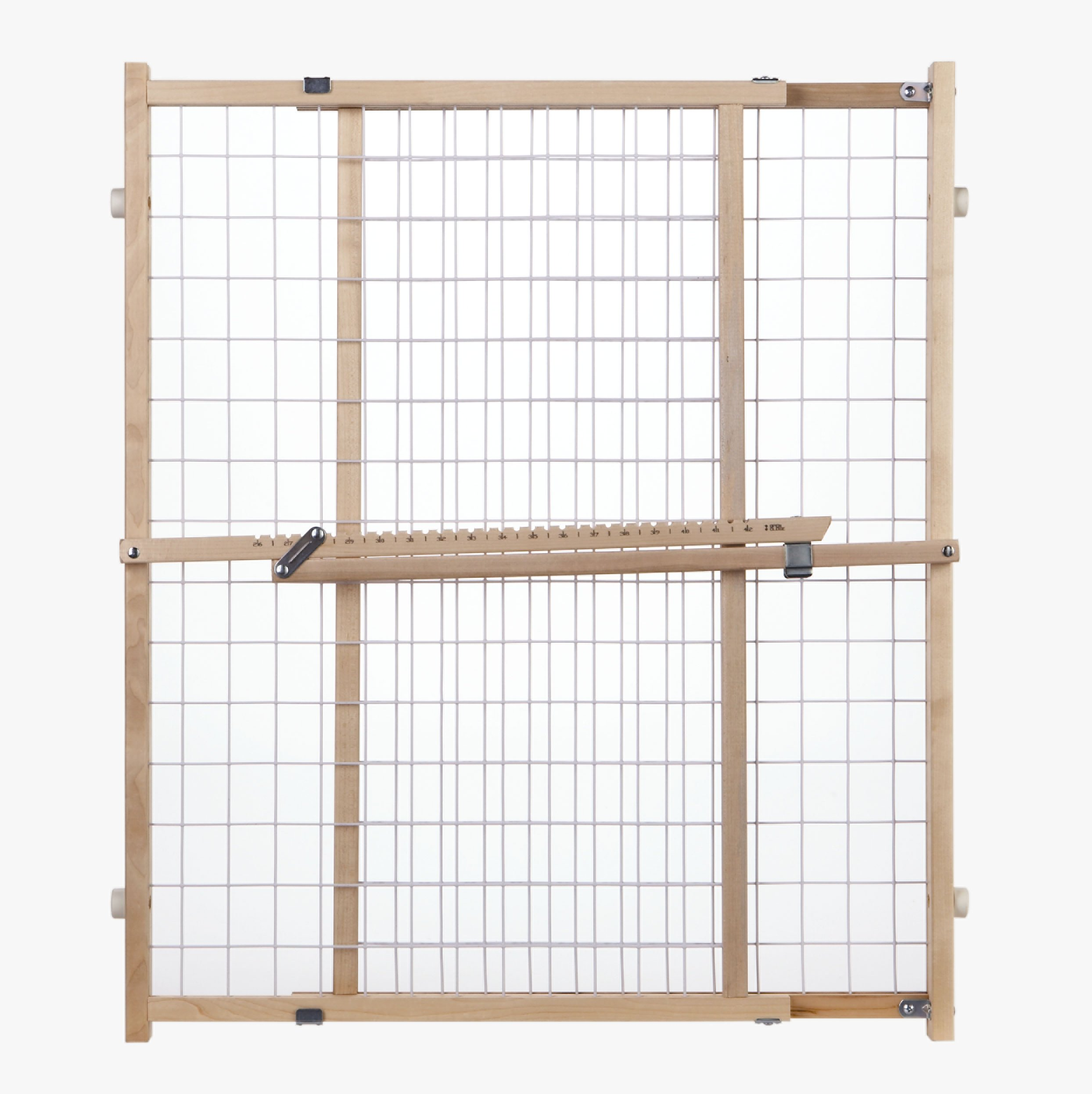 ''Extra-Wide Wire Mesh Gate'' by North States: Installs in extra-wide openings in seconds, without damaging walls. Pressure mount. Fits openings 29.5'' to 50'' wide (32'' tall, Natural wood)