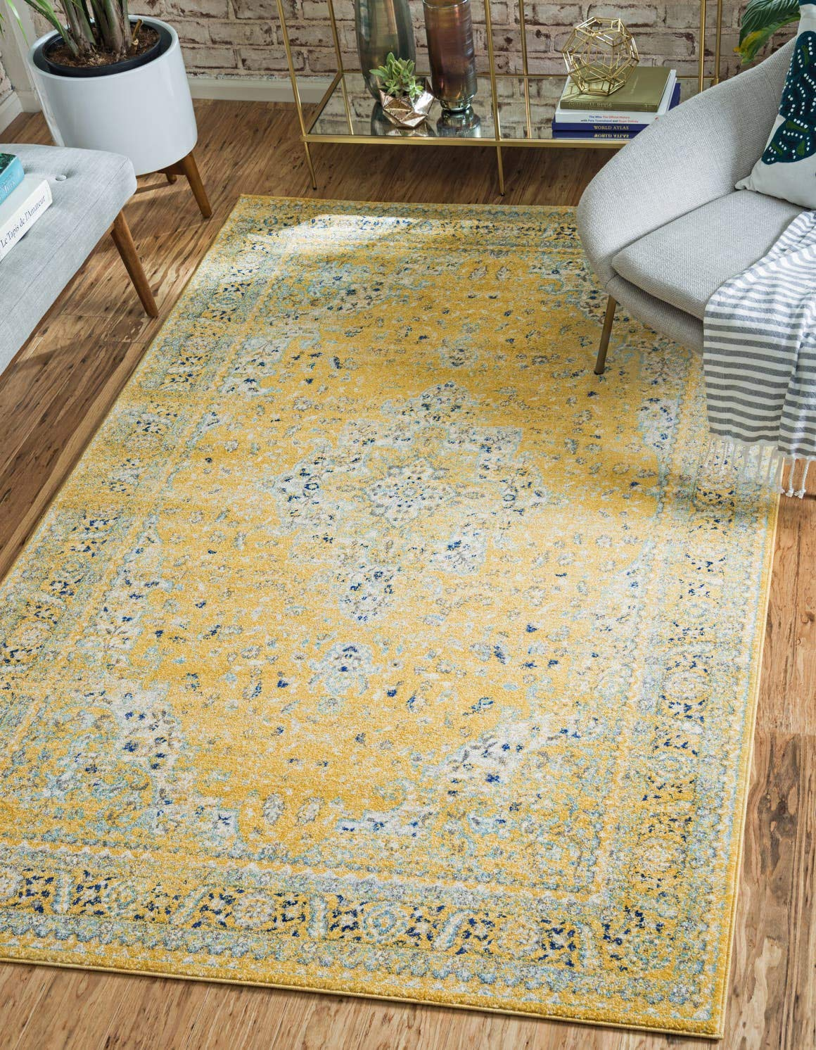 Unique Loom Tradition Collection Classic Southwestern Yellow Area Rug 4 0 x 6 0