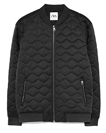 Zara Men Quilted Bomber Jacket 1792 400 Black at Amazon Men s ... a44ed8ee38ab6