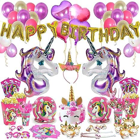 Unicorn Birthday Party Supplies Set - 197 Pcs - Unicorn Headband - Unicorn  Party Favors - Unicorn Horn Cake Topper - Unicorn Party Decorations -