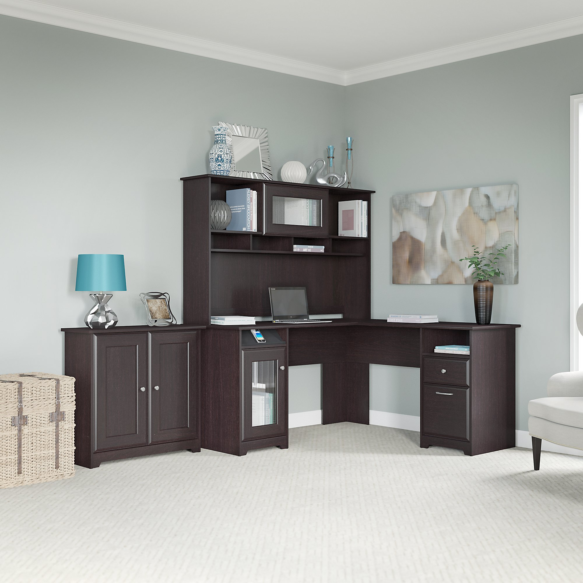 Cabot L Shaped Desk, Hutch, and Low Storage Cabinet with Doors
