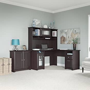 Amazon Com Cabot L Shaped Desk Hutch And Low Storage