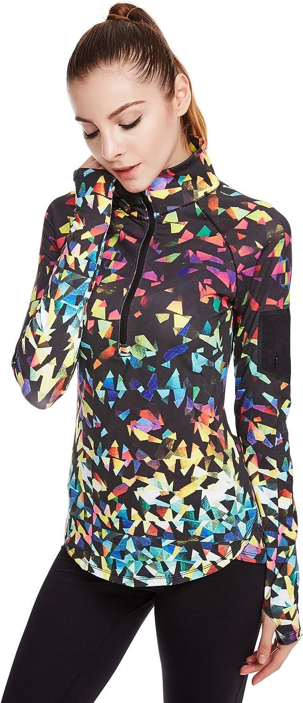 icyzone Womens Workout Yoga Track Jacket 1//2 Zip Long Sleeve Running Shirt