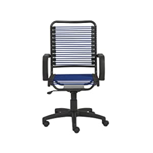 Eurø Style 02548BLU Bradley Bungie Office Chair, L: 27 W: 23 H: 37.5-43 SH: 17.5-23, Blue