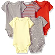 Hanes Ultimate Baby Flexy 5 Pack Short Sleeve Bodysuits, Yellow/Reds, 0-6 Months