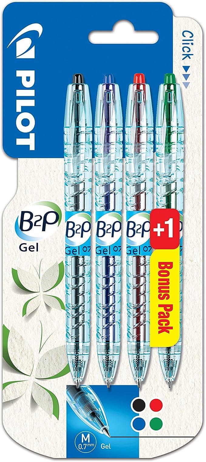 Pilot Pen B2P - Bolígrafo de gel (4 unidades): Amazon.es: Oficina ...