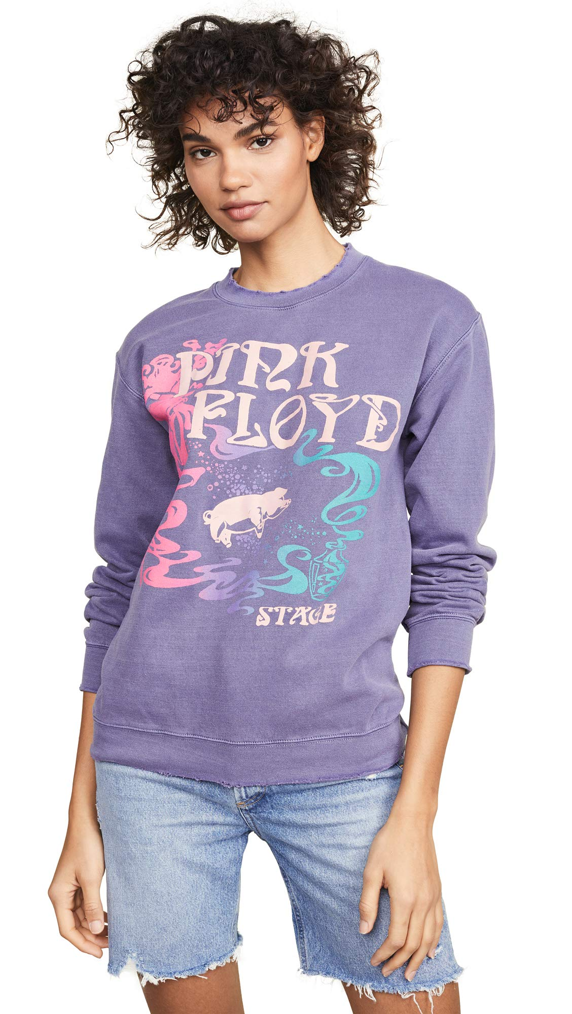MADEWORN ROCK Women's Pink Floyd Tampa Sweatshirt, Navy, Small