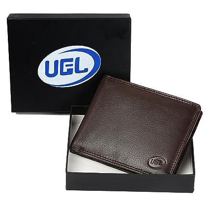 UGEL Premium auténtico Bifold cartera de piel Para Hombre Suave, cómodo y elegante, color