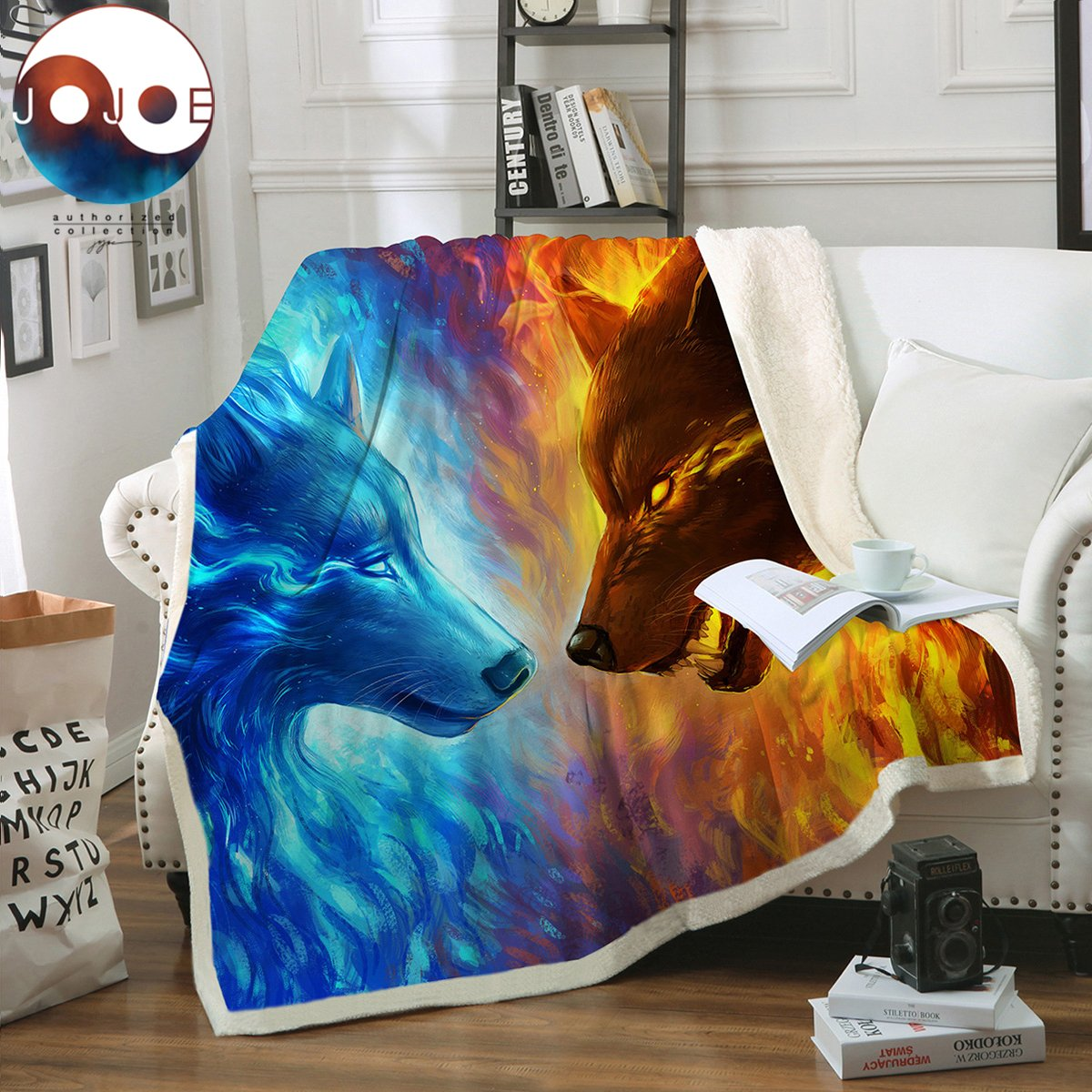 Sleepwish Fire and Ice by JoJoesArt Wolf Sherpa Blanket Blue Orange Animal Print Plush Blanket Thick Machine Washable 60''x80''