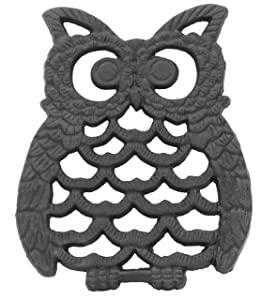 Cast Iron Owl Trivet | Decorative Pot Pan Trivet For Kitchen Counter or Dining Table Vintage Design Trivets | Use For Teapot Casseroles Slow Cooker Crock Pot | With Rubber Feet Recycled Metal