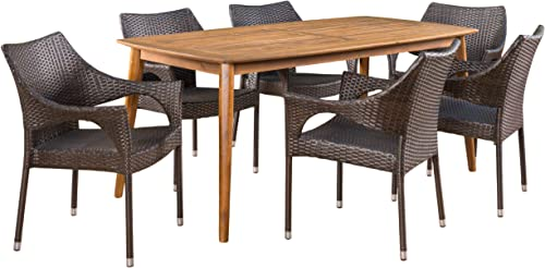 Christopher Knight Home Ben Outdoor 7 Piece Multibrown Wicker Set