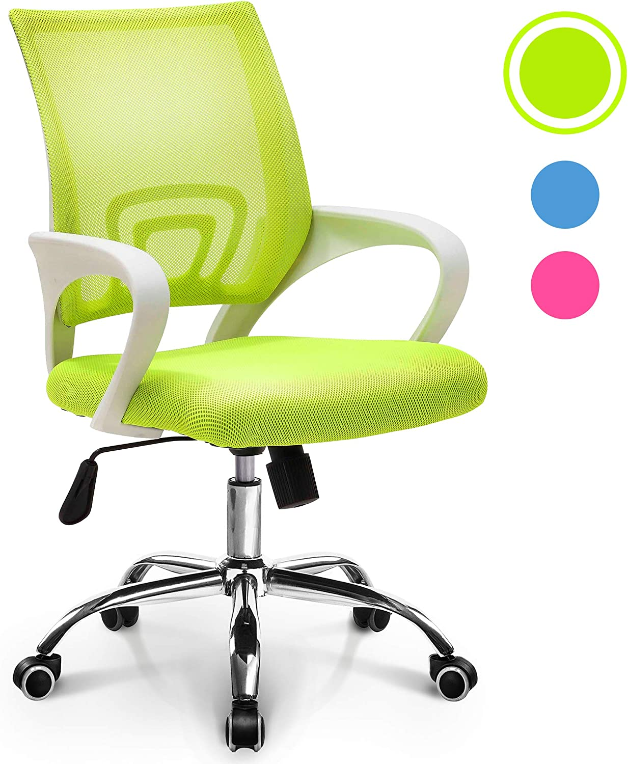 NEO CHAIR Office Chair Computer Desk Chair Gaming - Ergonomic Mid Back Cushion Lumbar Support with Wheels Comfortable Light Green Mesh Racing Seat Adjustable Swivel Rolling Home Executive