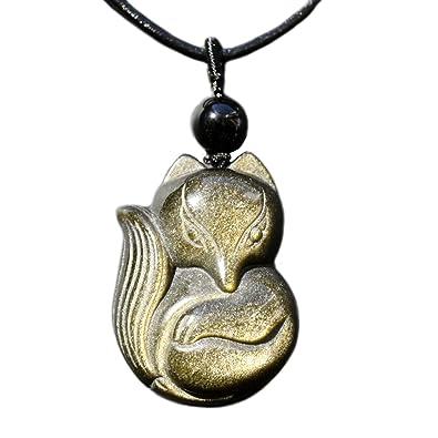 QGEM Semi-Precious Healing Crystal Fox Amulet/Talisman Gemstone Obsidian Pendant Necklace 6Ainzu