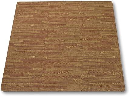 Alfombra puzle de Goma EVA para niños. Medida Total: 93 x 93 x 1 cm. con Bordes Lisos. Madera Color Roble / Cedro.: Amazon.es: Juguetes y juegos