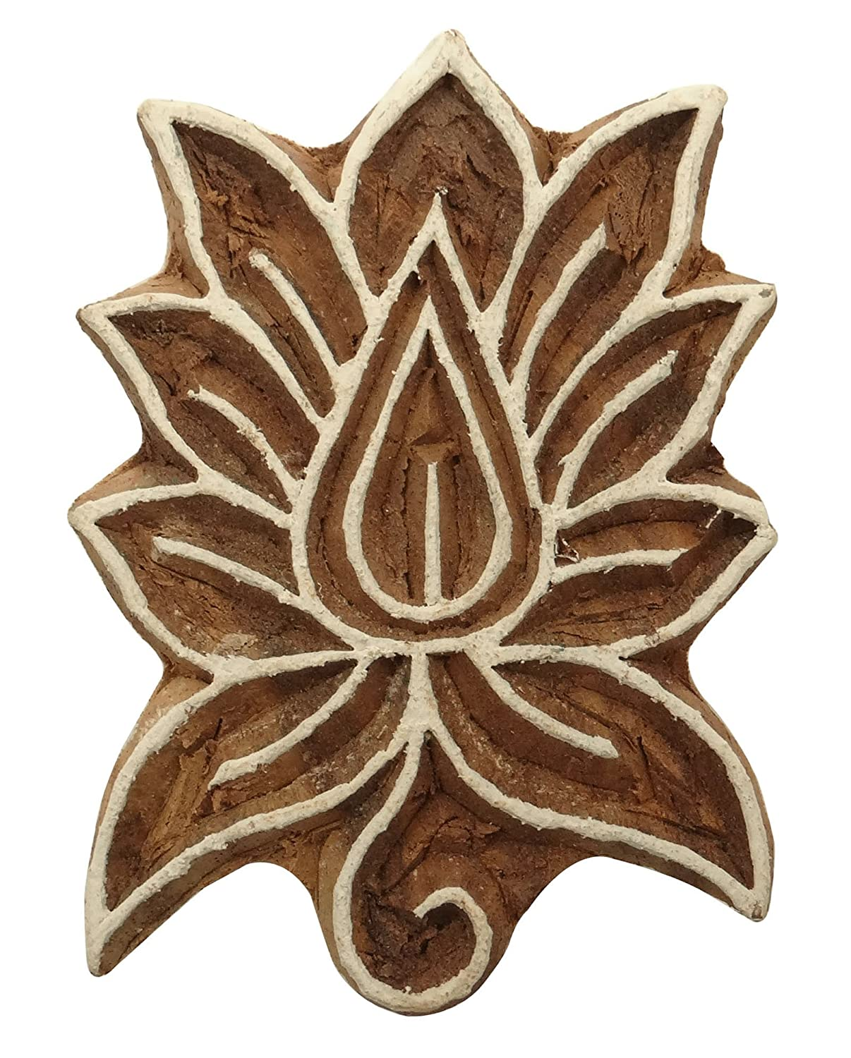 Decorative Textile Printing Blocks Floral Pattern Hand Carved Wooden Stamps Ibaexports