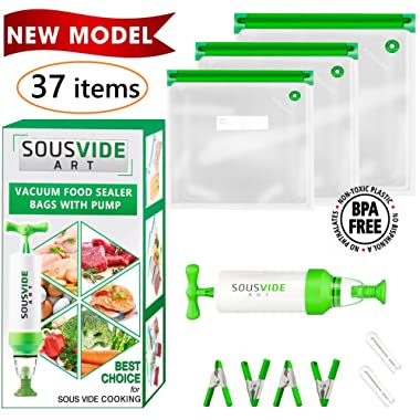 Sous Vide Bags - Must-Have for Sous Vide Cooker - 30 Reusable Food Vacuum Storage Bags - Sous Vide Bag Kit - 3 Sizes BPA Free Bags for Sous Vide Cooking (Premium)
