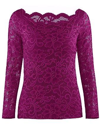 c0d4ed4a1 OUGES Women s Off Shoulder Scalloped Neck Floral Lace Top Shirt (Rose ...
