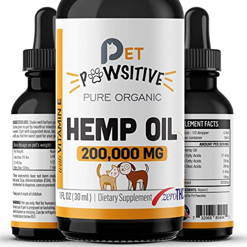 Pet Pawsitive – Hemp Oil for Dogs and Cats – Made in USA – Max Potency – Calming Aid – Separation Anxiety, Joint Pain, Stress Relief, Pains, Pet Relief – Omega 3, 6 9 100 Organic