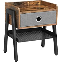 VASAGLE Stolik nocny, stolik pomocniczy, stolik kawowy, półka z wyjmowaną szufladą z materiału, półka z kratki, metalowa…