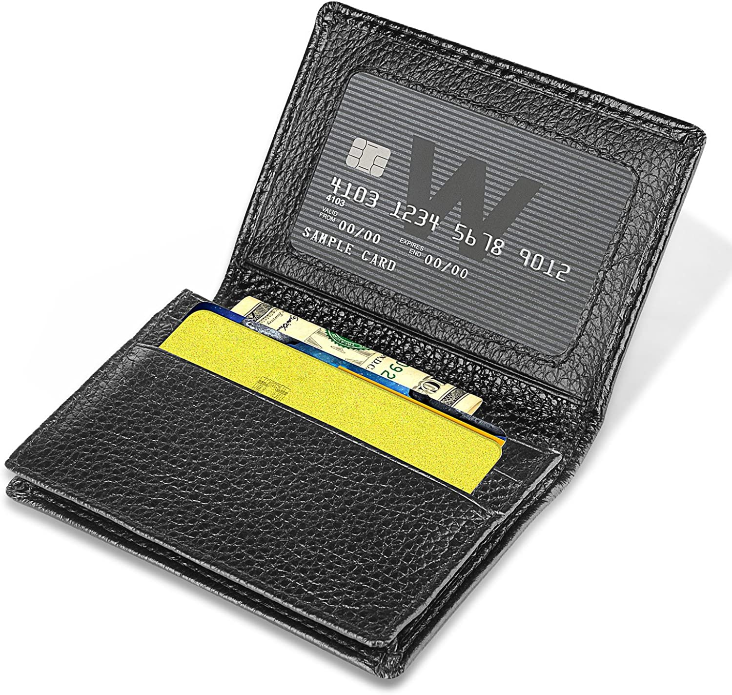 Zodaca Genuine Leather Business Card Holder Expandable Antimagnetic Credit Wallet With ID Window Black