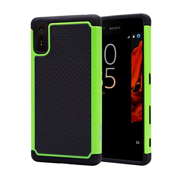 best website 7e0ca 7340a 32nd Shockproof Dual Defender Case Cover for Sony Xperia XZ - Green