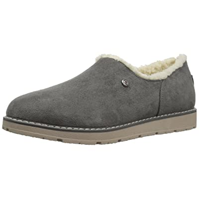 BOBS from Skechers Women's Bobs Alpine Black Diamond Cozy Slipper, Gray, 6 M US | Shoes