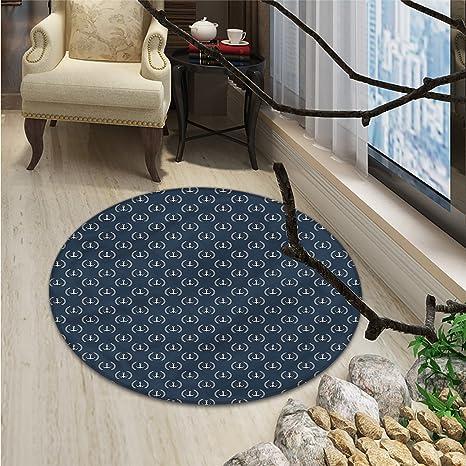 Amazon.com: Azul marino redondo alfombra de área remolinos y ...