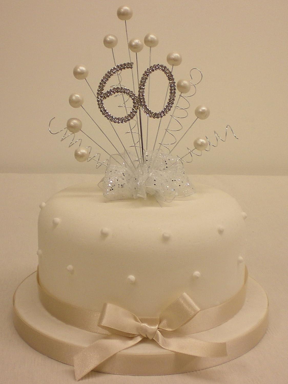 Cake Topper Heart Burst Spray Diamante 60th Birthday Vintage Pink