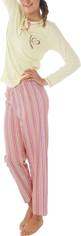 Ensemble de Pyjama Femme 100/% Coton Manches longues Bouton