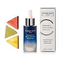 Clean Skin Club Vitamin C Brightening Booster | Pineapple, Watermelon & Green Tea | Natural Anti Aging Collagen Stimulating Serum | Acne, Scars, Sun Damage, Wrinkles & Age Spot Treatment