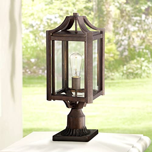 Rockford Rustic Farmhouse Outdoor Post Light Fixture Bronze Iron 20 1 4 Clear Beveled Glass for Exterior Garden Yard – Franklin Iron Works