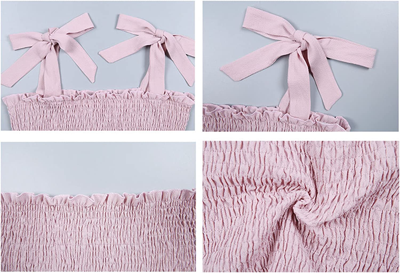 KAMISSY Womens Frill Smocked Crop Tank Top Tie Shoulder Strap Vest