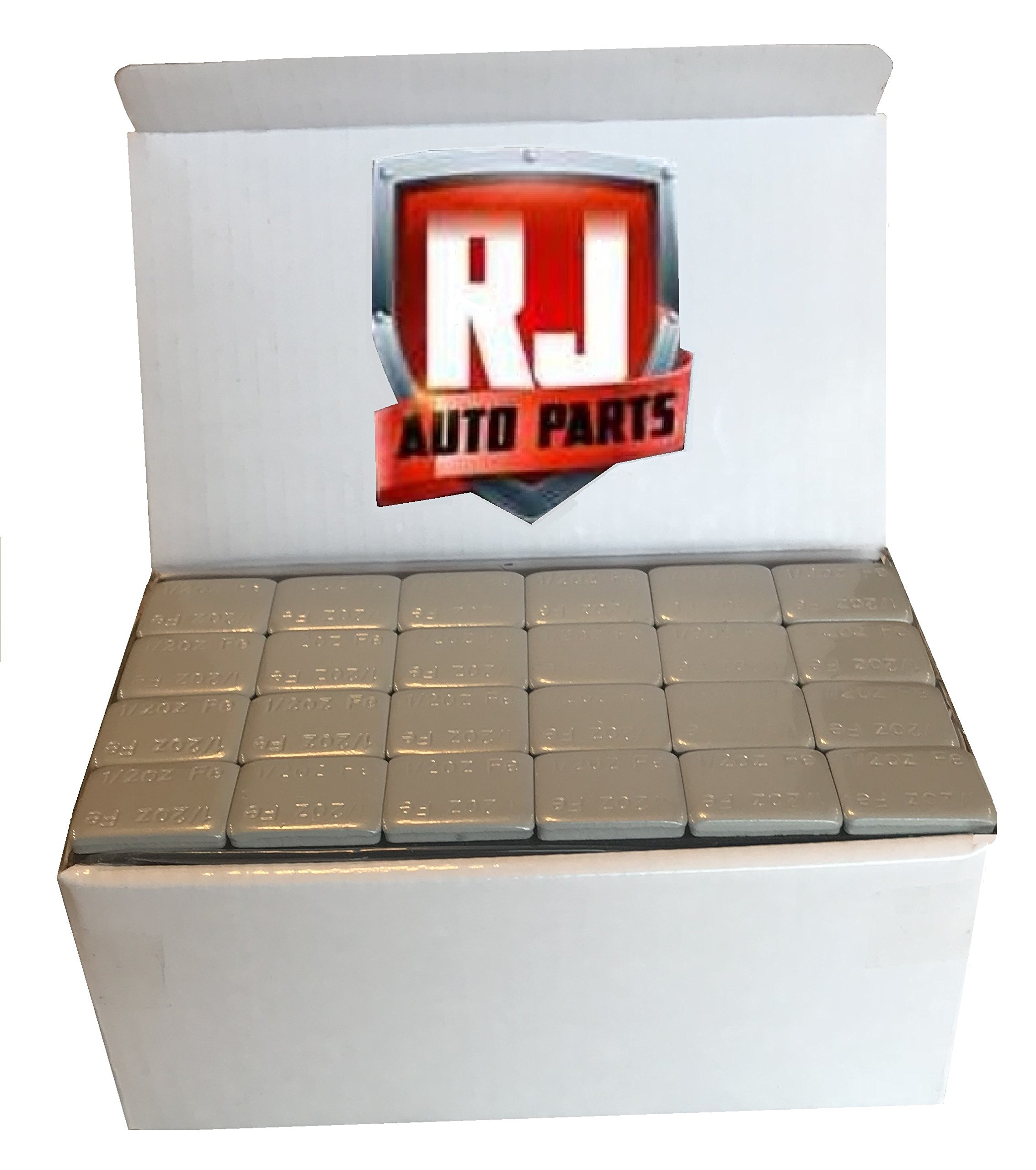 2 Boxes Wheel Weights, Grey 1/2 oz., Stick-on Adhesive Tape (18.00 lbs) 576 Pieces, Lead Free by RJ Auto Parts (Image #1)