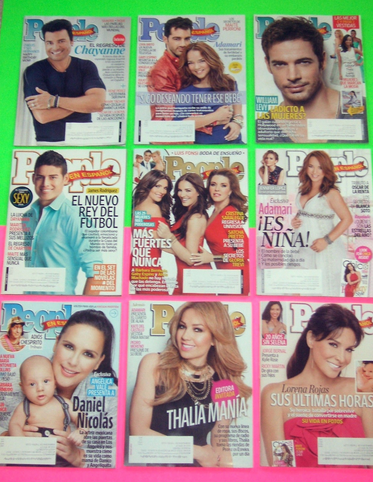 Lot of 9 People En Espanol Magazines/Periodicos from 2014-2015 [Chayanne, William Levy, Adamari Lopez, etc., Great Unread Shape!]: