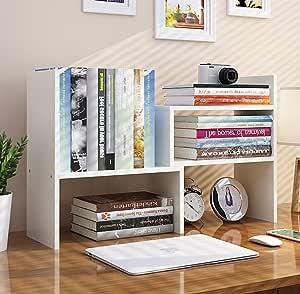 Office Desktop Bookshelf Adjustable Wood Display Shelf Desktop Organizer Office Storage Rack Countertop Bookcase Office Supplies Desk Organizer Accessories(Large Expandable) (White)