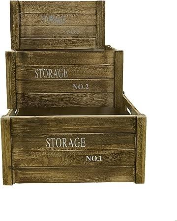 Rebecca Mobili Juego3 pz Caja de Madera Vintage, Cajas Frutas Ideas decoupage salón Cocina, marrón - Medidas: 20 x 41 x 31 cm (AxANxF) - Art. RE4475: Amazon.es: Hogar