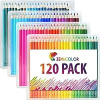 Boîte de 120 crayons de couleur Zenacolor - 120 couleurs uniques (aucune en double) - Les meilleurs crayons pour enfants, adultes et artistes. Idéal pour tous les types de coloriage