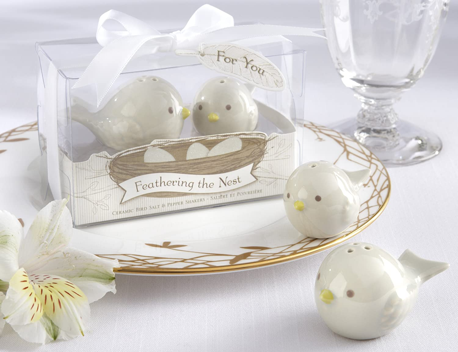 Amazon.com: Kate Aspen Feathering The Nest Ceramic Birds Salt and ...