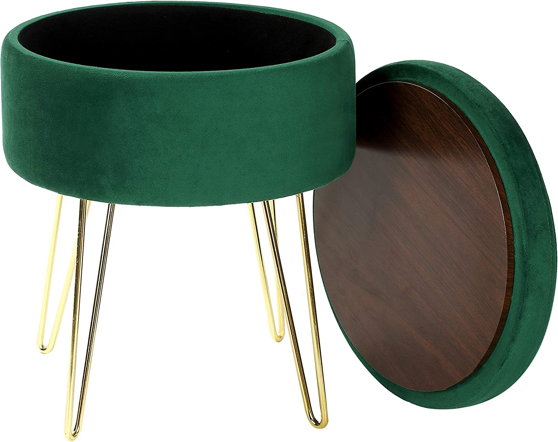 iVilla Velvet Storage Footrest Stool/Seat, Round Modern Luxe Velvet Ottoman with Golden Metal Legs for Home Living Room Bedroom (Emerald Green)