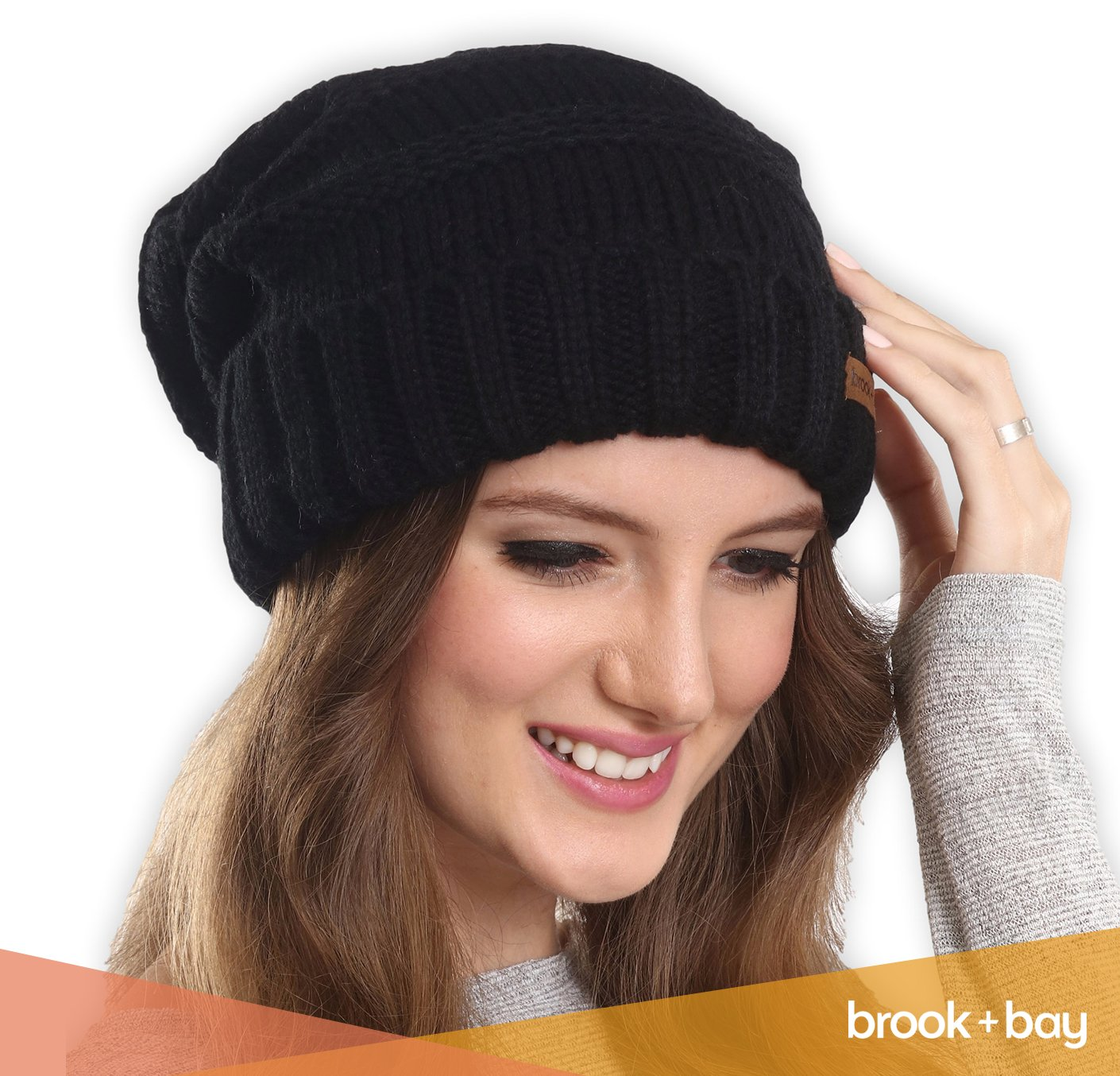 34059d1e6cd Brook + Bay Slouchy Cable Knit Cuff Beanie - Stay Warm Stylish - Chunky