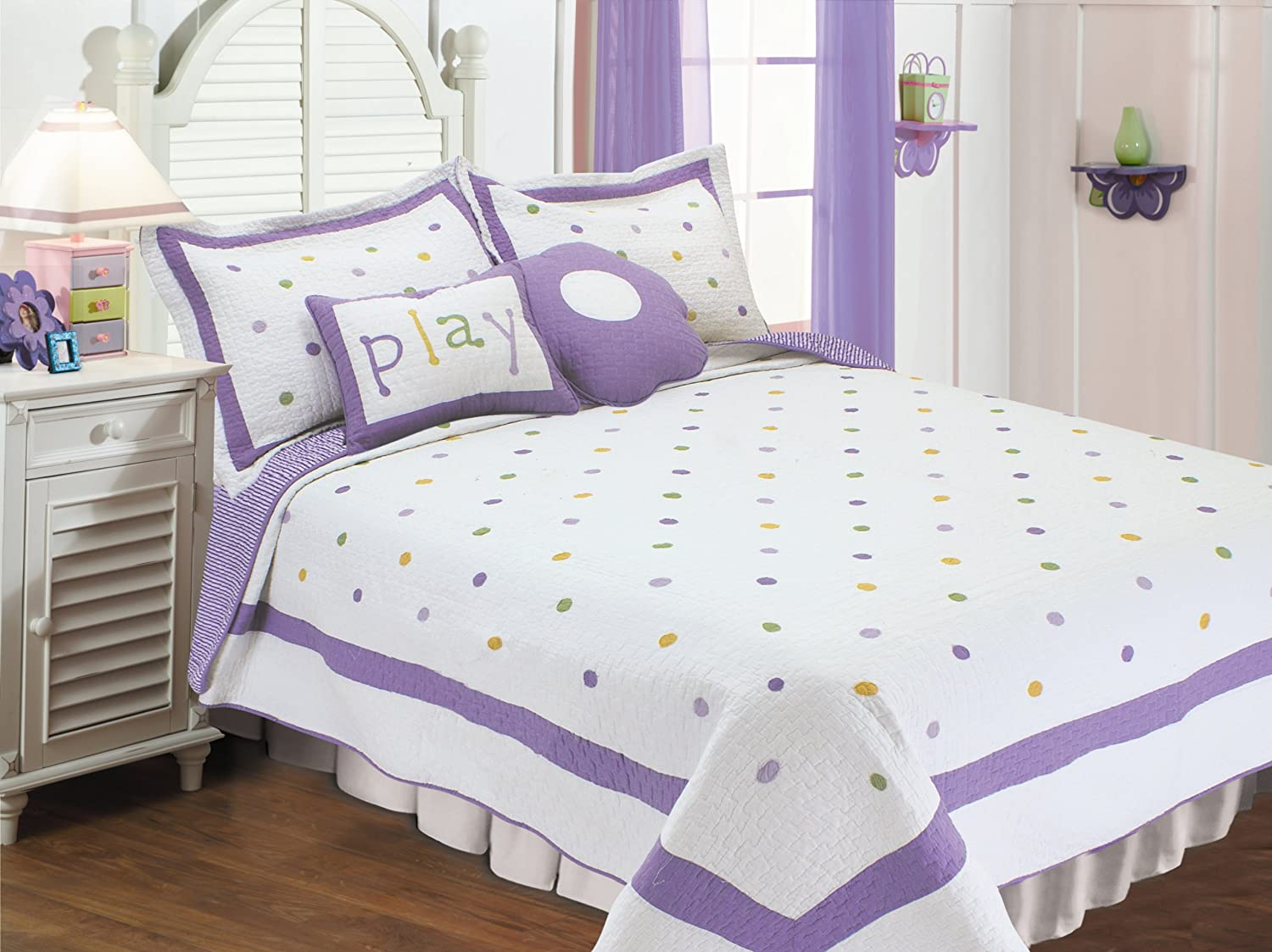 Textiles plus Polka Dots Quilt Set Full/Queen, Lavender