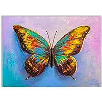 REILOM Quadro Stampa su Tela Decorativo Cm 70 x 50 arredo Casa Animali Farfalla Colorata Natura TELAN-09