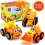 Toys for a 2 Year Old Boy - 3 Friction Powered Trucks for 2+ Year Old Boys, Push & Go Cars Cartoon Construction Vehicle…