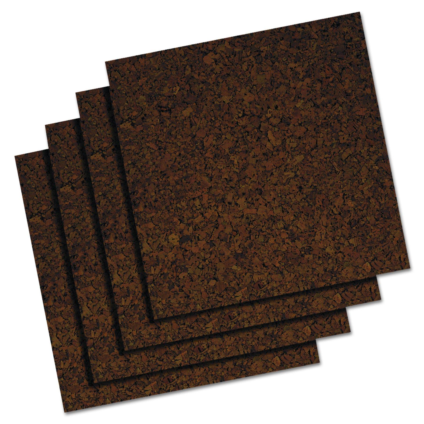 Quartet Cork Tiles, 12'' x 12'', Corkboard, Mini Wall Bulletin Boards, Dark, 4 Pack (101) by Quartet