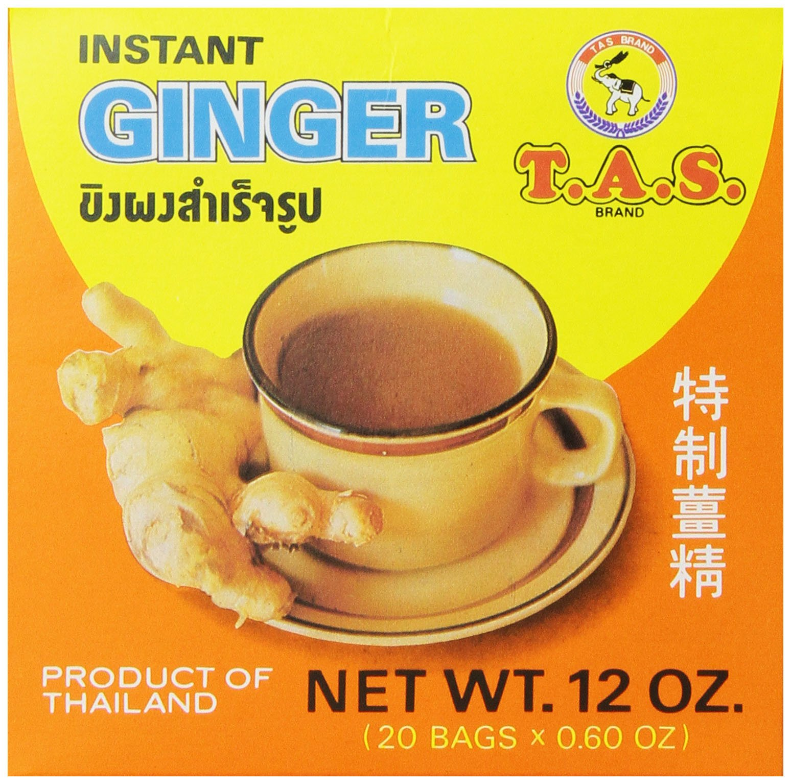 TAS Instant Thai Tea, Ginger, 12 Ounce