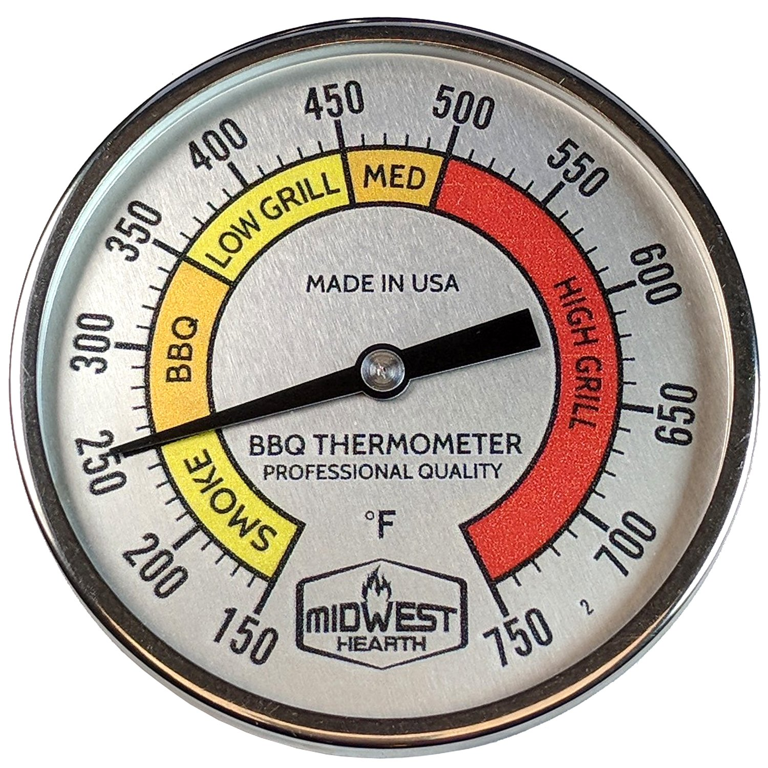 Midwest Hearth Professional Thermometer for Kamado Style Charcoal Grills (3'' Dial)