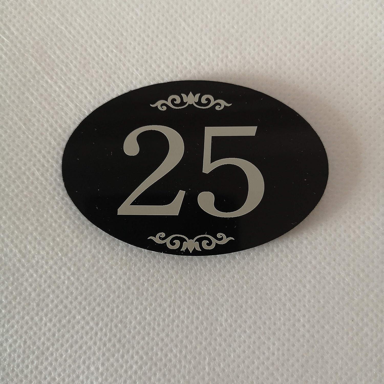 Targa per porta con numero di armadietto Sourcemall con nastro adesivo numero 1-25 Nero