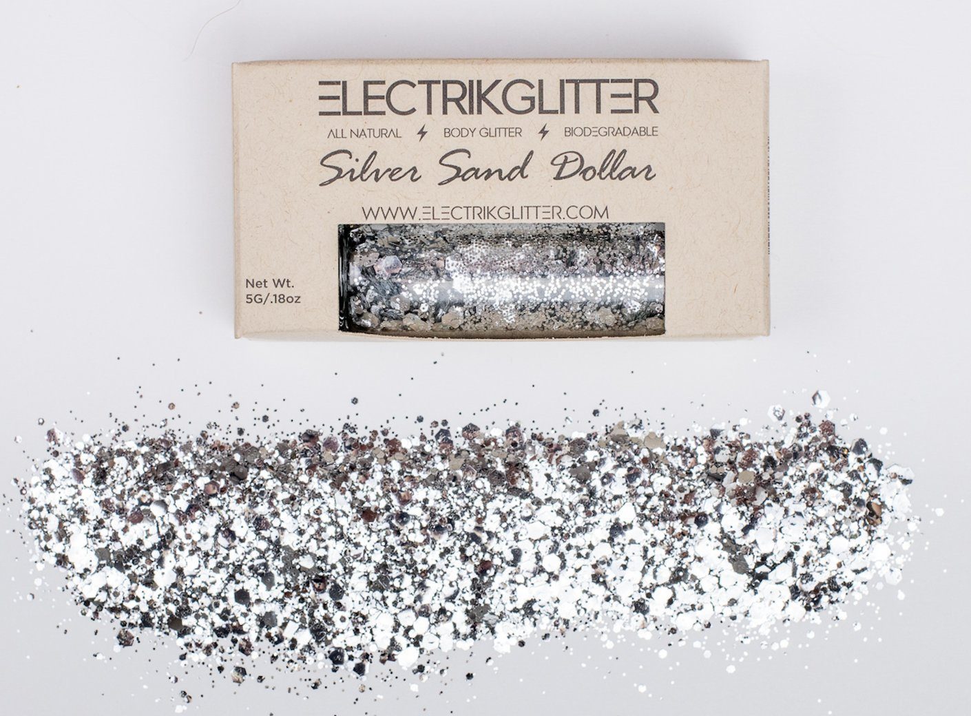 Electrik Glitter Biodegradable Body Glitter (5G) (Silver Sand Dollar) by Electrik Glitter (Image #1)